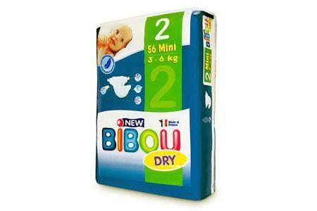 Carton de 3 x 56 changes pour bébés BIBOU N.2 - 3-6 Kg