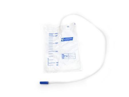 10 sacs à urine, 2 litres, gradués, avec valve anti-reflux, tube 90 cm