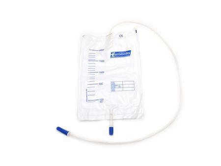 10 sacs à urine, 2 litres, gradués, avec valve anti-reflux et robinet de vidange, tube 90 cm