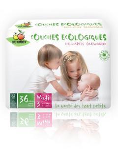 Carton de 6 x 36 changes bébés BIO BABBY - Midi 4-9 kg