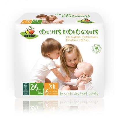 Carton de 6 x 26 changes bébés BIO BABBY - XL 16-30 kg