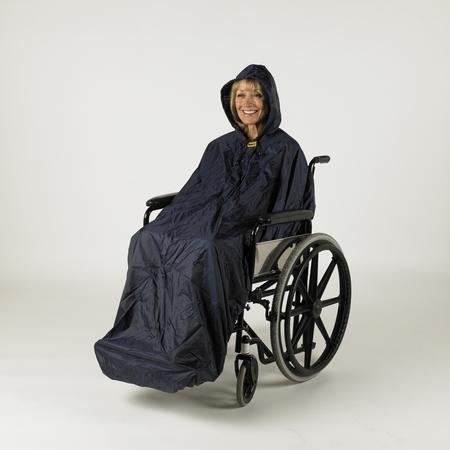 Cape intégrale avec manches pour utilisateur de chaise roulante