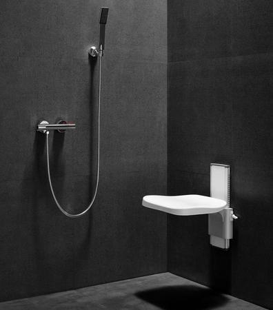 Siège mural de douche rabattable et réglable en hauteur - Blanc